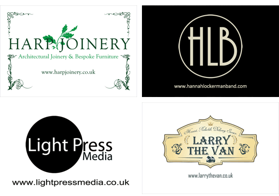 Business card design for Harp Joinery, The Hannah Lockerman Band, Light Press Media & Larry the Van.